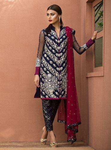 02d5287a89 Navy blue floral dress | MINE | Navy blue floral dress, Pakistani ...