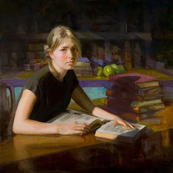 Never Enough Books. Rita Curtis.Oil on canvas.  Liza was weighed down with reading materials when I ran into her at the library. I knew then I would have to paint her in a cozy setting of books, books, lovely books.Copyright © Rita Curtis