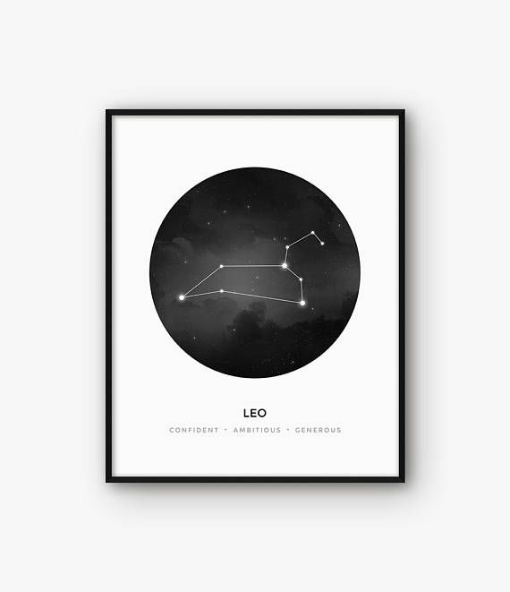 Leo Zodiac Constellation Lion Astrology Sign Wall Art Black