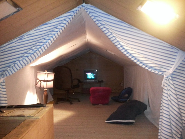 attic tent game room - sheets from resale shop staple gun. Original idea from & 45 best Attic bedrooms images on Pinterest | Attic conversion Attic ...