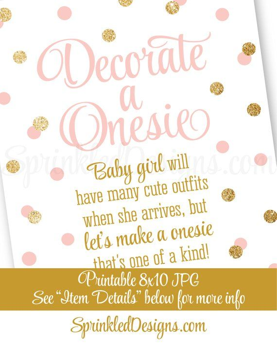 b810f8511a8f0 Decorate A Onesie Sign, Onesie Decorating Station Sign, Girl Baby ...
