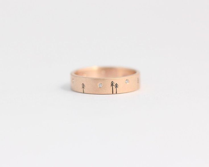 Pine Forest Ring with Diamond Stars in Rose Gold - Medium