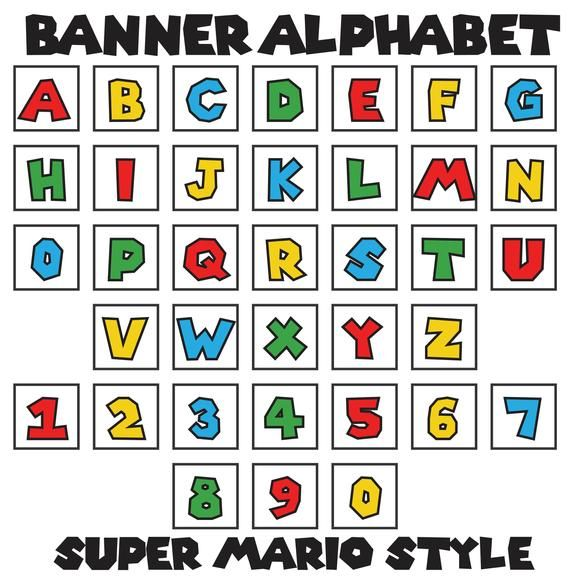 Mario Style Letters A Z Numbers 0 9 Set Of 36 Banner Etsy In 2020 Super Mario Bros Party Mario Bros Party Super Mario Birthday Party
