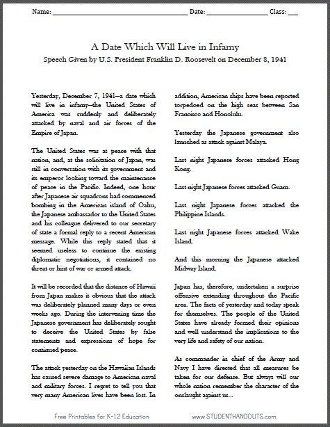 """Franklin Roosevelt's """"Day of Infamy"""" Speech - December 8, 1941, following the Japanese attack at Pearl Harbor (World War II)."""