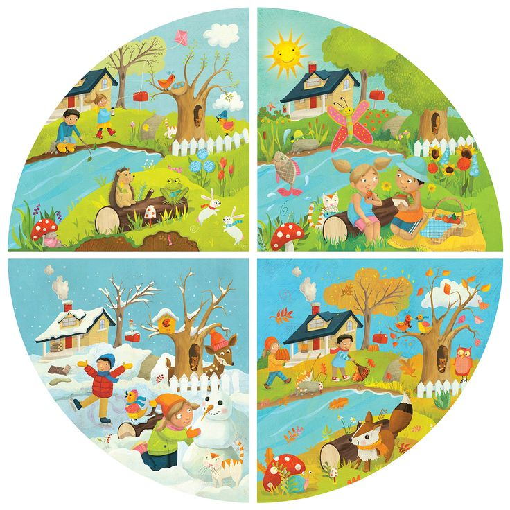 "Laura Watson was commissioned by Italian educational games and puzzle publisher Headu to create this cheerful round illustration showing all four seasons. The finished floor puzzle, for ages 3 – 6 years, lives up to the company motto, ""Lifelong playing, lifelong learning!"""