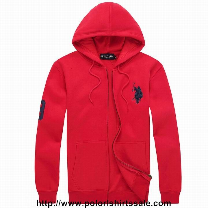 Order Mens Polo Ralph Lauren Full Zip Big Pony Hoodie Dark Blue Red