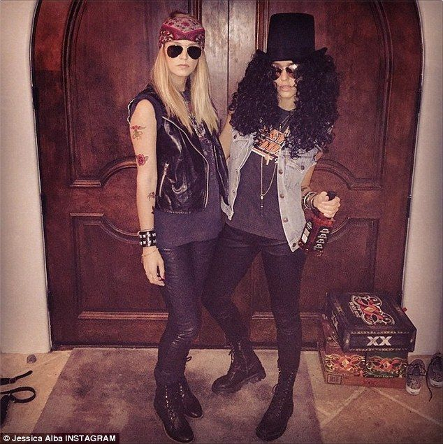 Gal pal: She attended the star-studded event with friend Kelly Sawyer, with the two dressed up as Slash (Jessica) and Axl Rose (Kelly) from rock band Guns N Roses: