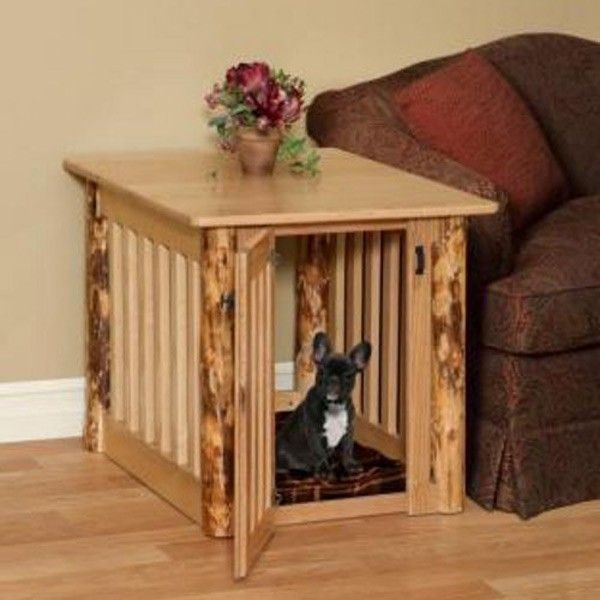 Amish Made Log Wood Dog Crate End Table Furry Friends