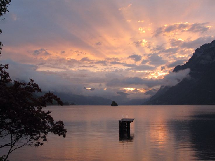 Sunset over Lake Walensee from See-Camping, Walenstadt, Switzerland