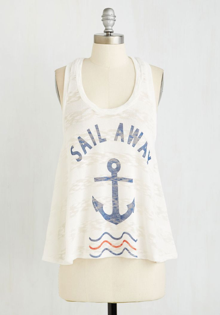 Let's Talk About You and Sea Top. Swap stories from your aquatic adventures while clad in this white tank! #white #modcloth