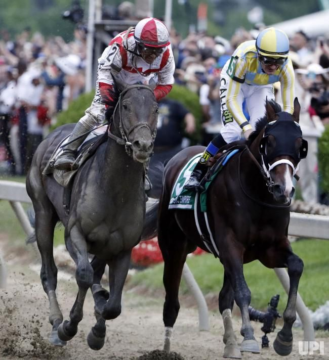 Cloud Computing, ridden by Javier Castellano (L), wins the 142nd Preakness Stakes horse race at Pimlico race course in Baltimore, Maryland,…