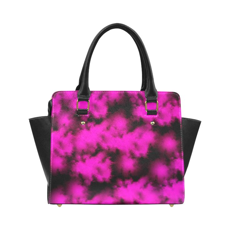 Pink and black clouds Classic Shoulder Handbag by Tracey Lee Art Designs