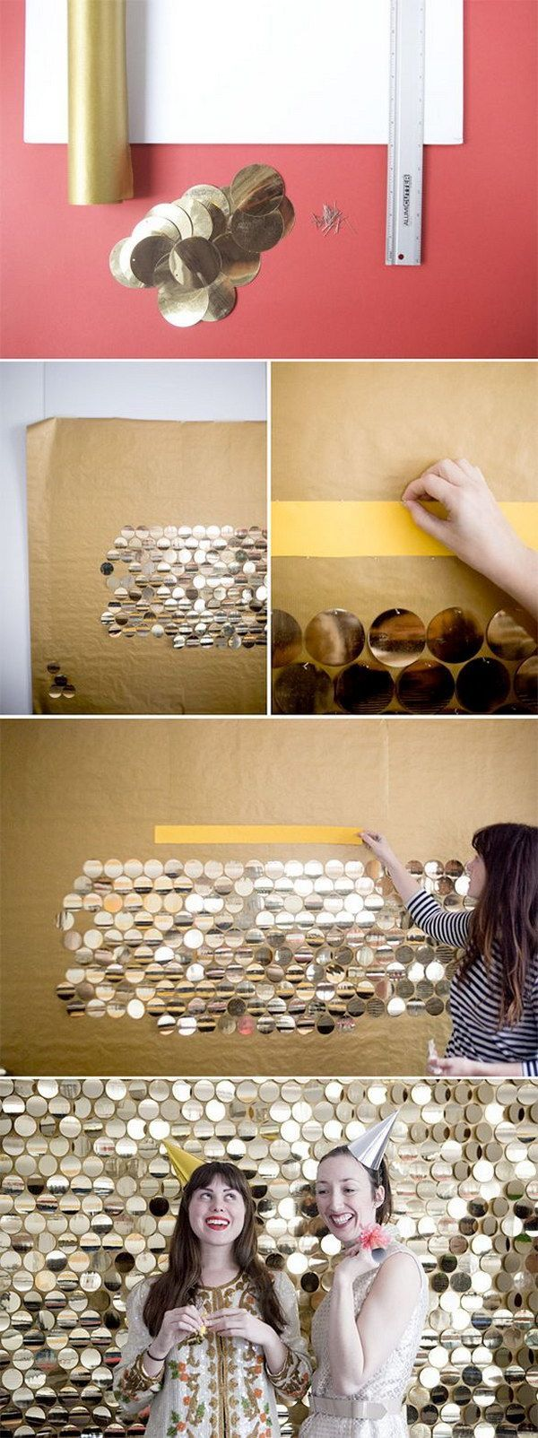 10 DIY Sequin Backdrop Made Out Of Large Gold Pailletes