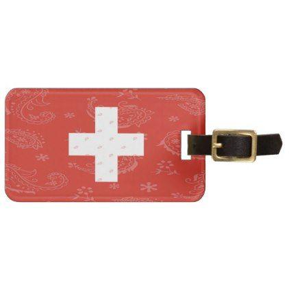 Switzerland Flag Luggage Tag - accessories accessory gift idea stylish unique custom