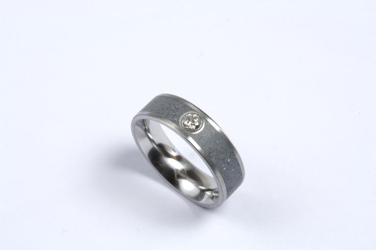 concrete and diamond ring by KONZUK