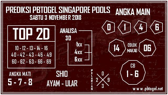 PREDIKSI PBTOGEL SINGAPORE POOLS SABTU 3 NOVEMBER 2018