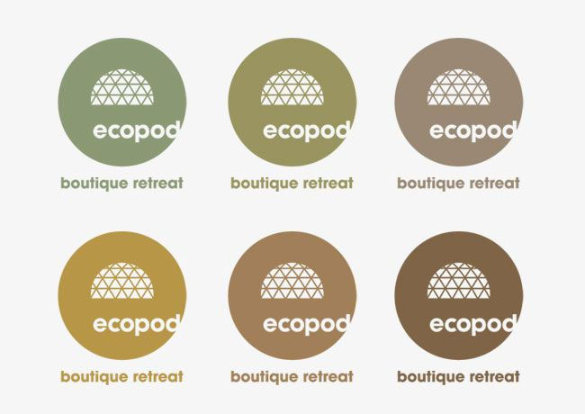 Ecopod palette. Contributed by Christian Eager, partner and designer at London-based Designers Anonymous. Ecopod is a luxury eco-friendly holiday retreat in the Scottish Highlands. The brand identity focused on the high quality of the experience, avoiding the clichés that go hand-in-hand with all things 'eco'.