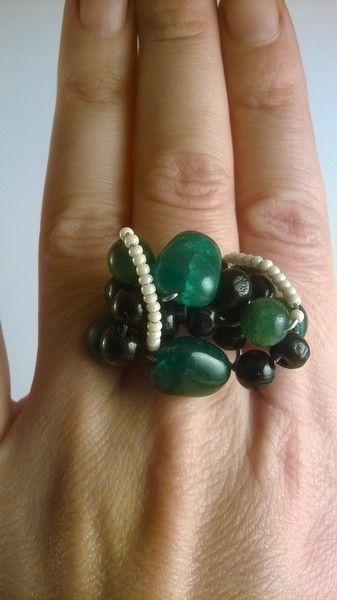 anello giada malachite corallo legno di madreperls su DaWanda.com