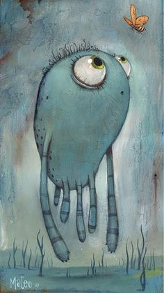 Cute blue creature by Mateo Dineen.