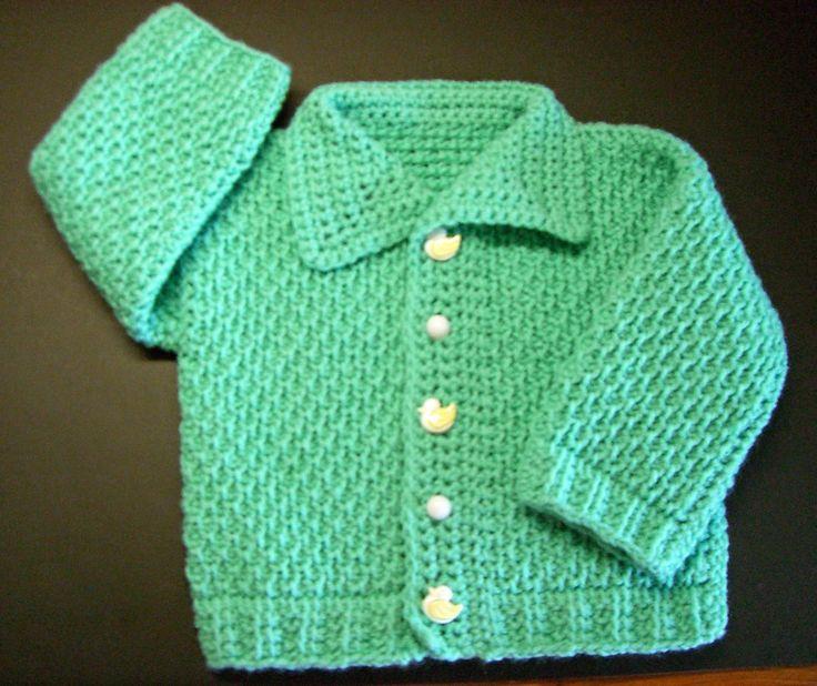 Ayasha Cardigan Pattern -- FREE Tunisian crochet pattern for infants.