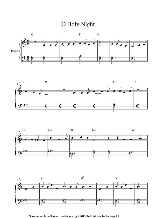 It is a picture of Refreshing Easy Christmas Piano Sheet Music