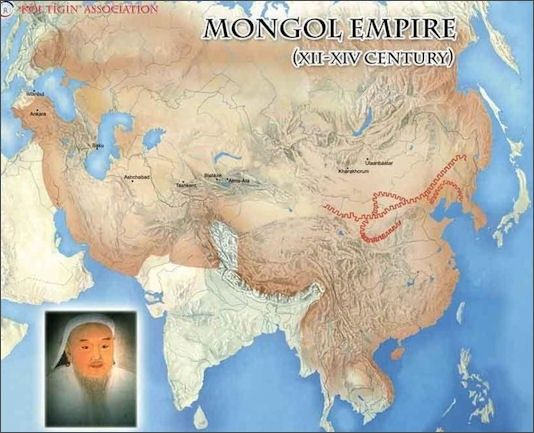 This map shows how large and expansive the mongol empire was. During the mongol reign, the silk trade routes had a rebirth. The mongols were tolerant to an extent where they allowed diverse religious, social, and cultural beliefs to flow freely. During their control of the routes, Islam, Christianity, Buddhism, and other religions were expanded significantly. The spread of religion helped create stronger cultural ties in a region as well as cultural identities.