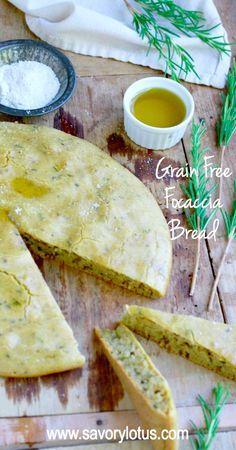 Grain Free Focaccia Bread (gluten free, nut free, paleo) - savorylotus.com