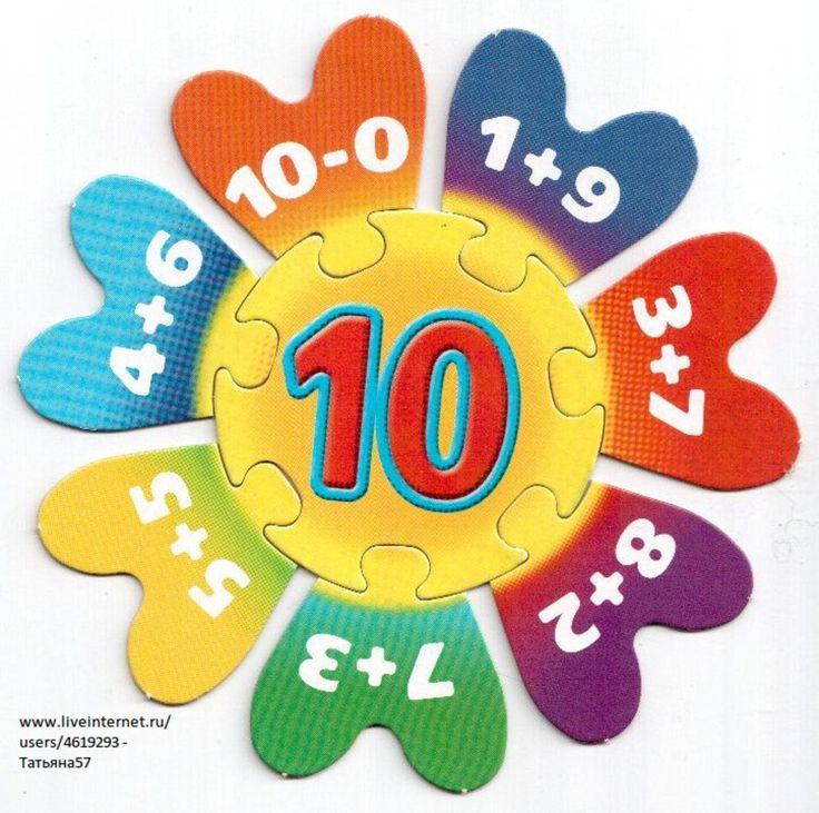 Puzzel met plus- en minsommen omtrent het getal 10.