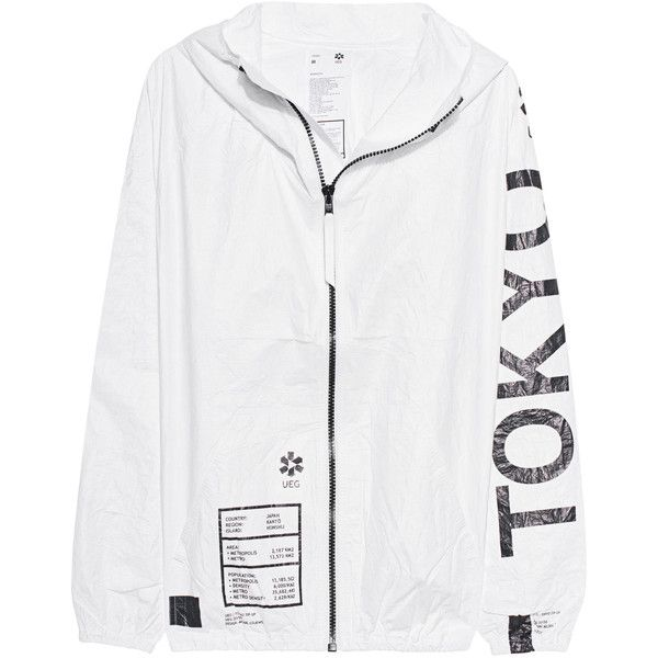 UEG Tokyo White // Outdoor jacket with print ($225) ❤ liked on Polyvore featuring men's fashion, men's clothing, men's outerwear, men's jackets, outerwear, clothing - jackets, jackets, mens water resistant jacket, mens leopard print jacket and mens slim fit jackets