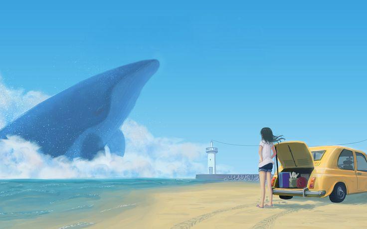 Скачать обои natsu3390, арт, берег, аниме, чемоданы, девушка, машина, океан, небо, кит, облака, раздел аниме в разрешении 1920x1200