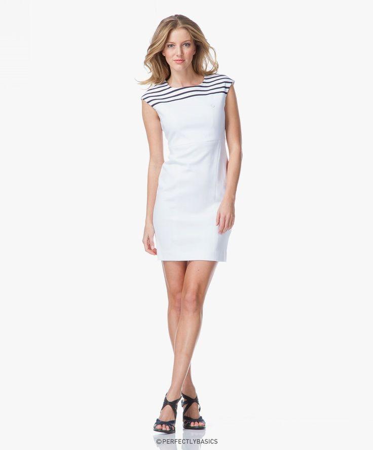 Armani Jeans Jersey Bretonse Streep Jurk - Wit - a5a82-ac 10 - bianco