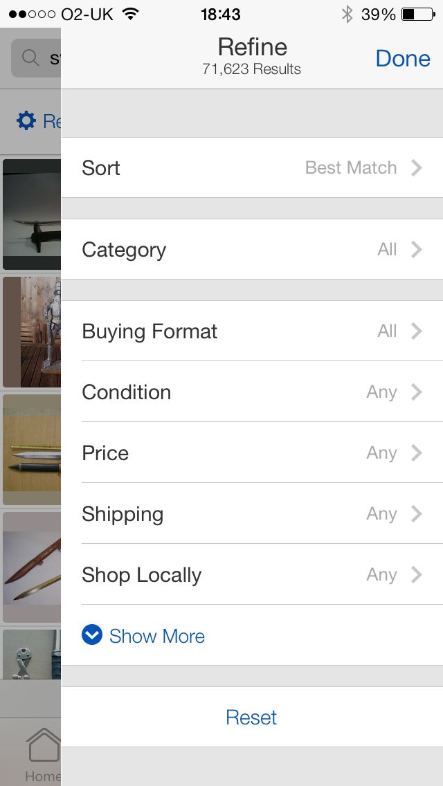 eBay app - Expanded filters