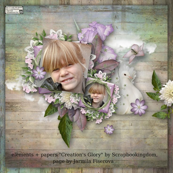 """""""Creation's Glory"""" by Scrapbookingdom,  papers - https://www.etsy.com/au/listing/489682726/creations-glory-paper-pack-commercial?ref=shop_home_active_2,  elements - https://www.etsy.com/au/listing/489683820/creations-glory-embellishments-70-plus?ref=shop_home_active_1,  photo Pezibear, Pixabay"""