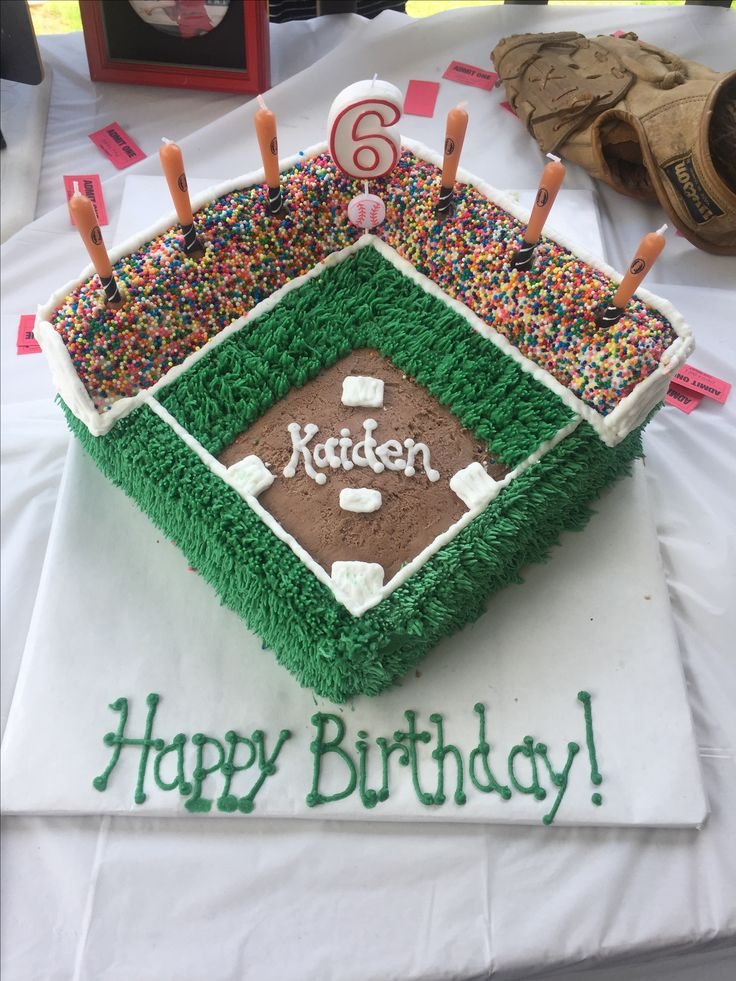 Baseball field cake. The sprinkle people were a pain...but it's cute.