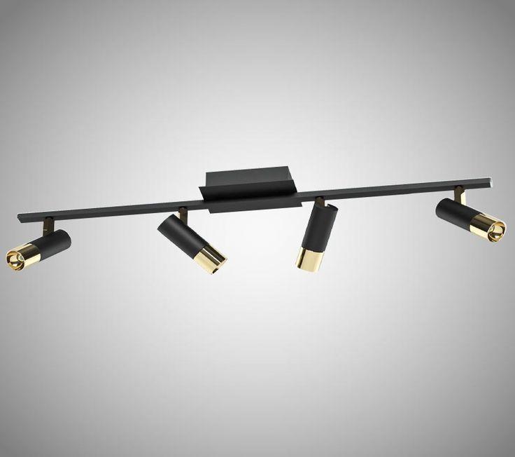 Tomares är en snygg taklampa i mattsvart stål och integrerad LED-belysning. Den har fyra stycken riktbara spotlights med snygga detaljer i blank mässing. Integrerad LED-belysning.