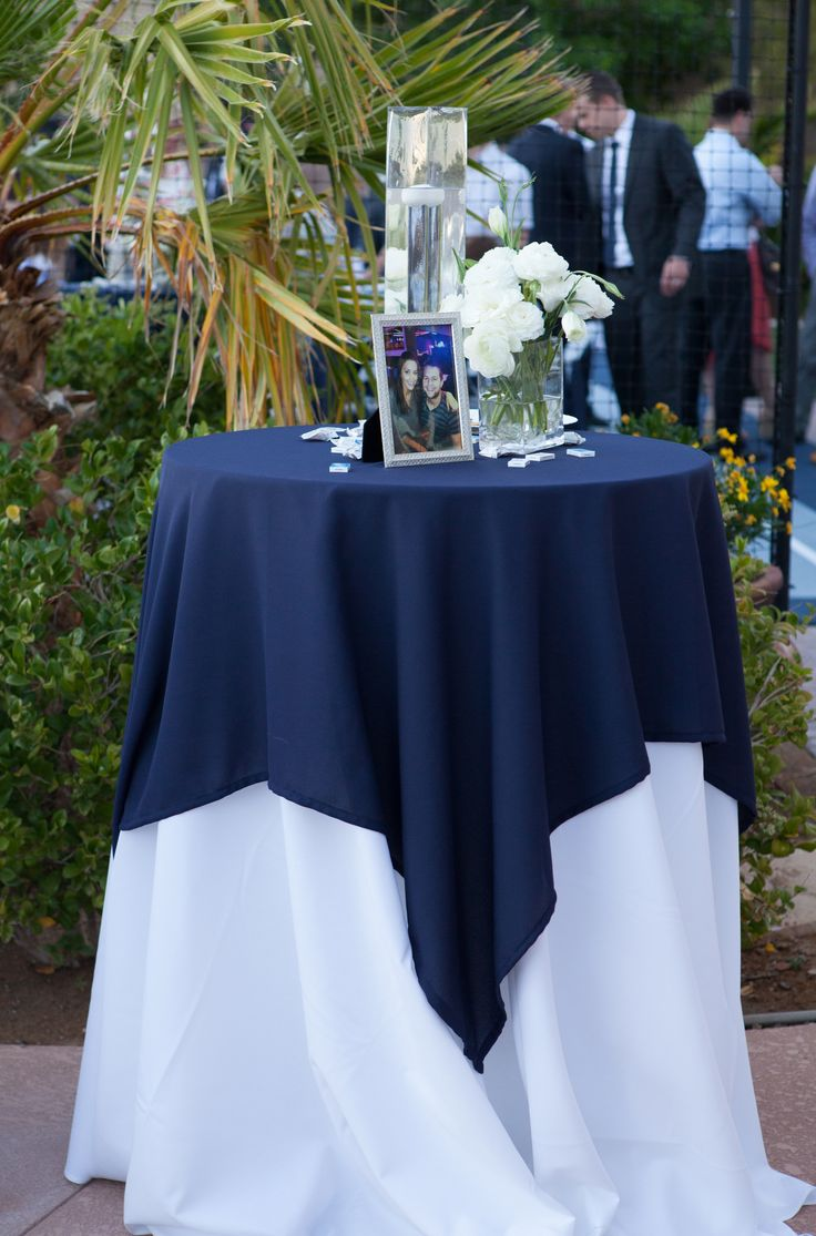 High Top Table Linens Part - 19: Navy Blue U0026 White Cocktail Table Or Sign In . #Wedding #cvlinens #tablescape