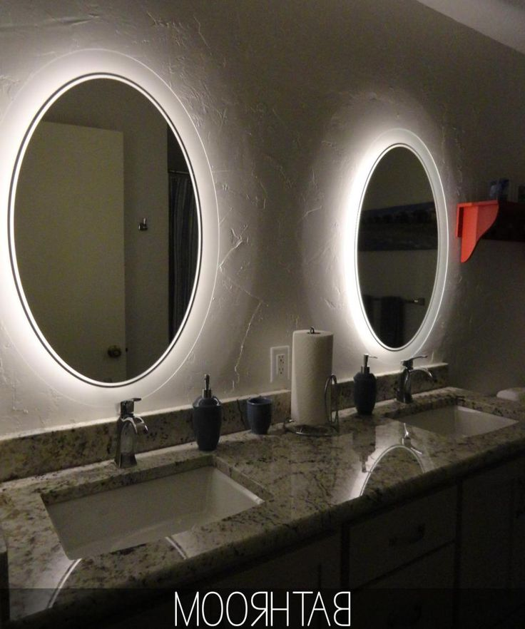 Creative  Double Vanity Sinks With Granite Counter Top And Beautiful Light
