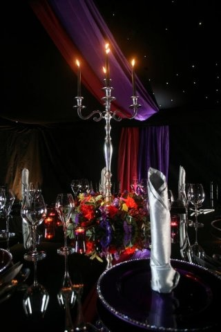 County Marquees Open Weekend - blacked out marquee - red and purple colour scheme with @Maria Canavello Mrasek Willcox @Stacey Foster Events