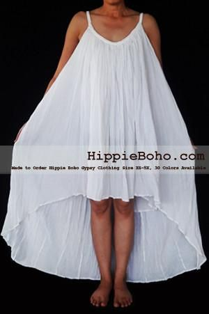 No.466- Size XS-5X Hippie Boho Clothing Gypsy Asymmetrical White Plus Size Strap Summer Maxi Dress, S,M,L,1X,2X,3X,4X,5X Dress