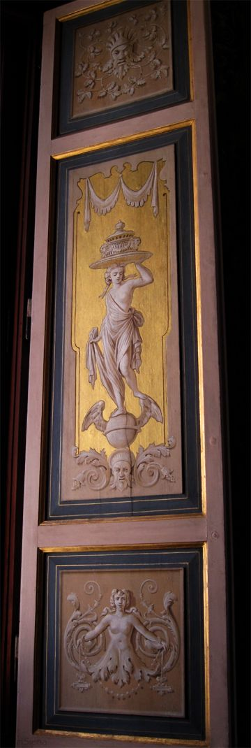 handpainted panels with gold leaf & grisaille