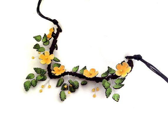 Statement  necklace Fashion flowers leather necklace by julishland, $30.00