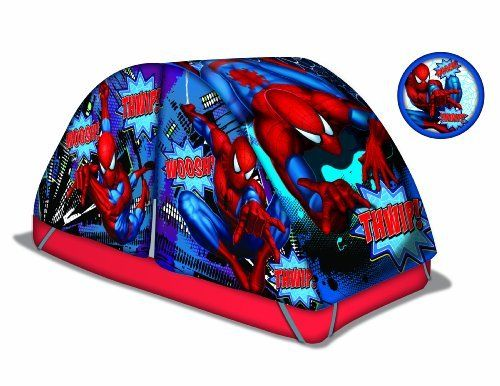 Marvel Spiderman Bed Tent with Pushlight by Marvel. $59.99. Includes bonus pushlight. Comfortably holds one person. Fits over most twin beds. For indoor use only. From the Manufacturer                Your child will love to have adventures under their Spiderman Bed Tent and Pushlight with the cool Spiderman design.                                    Product Description                Your child will love to have adventures under their Spiderman Bed Tent and Pushlig...