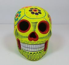 "HANDCRAFTED TALAVERA ""DAY OF THE DEAD SKULL"" MEXICAN FOLK ART ALEBRIJE CATRINA"