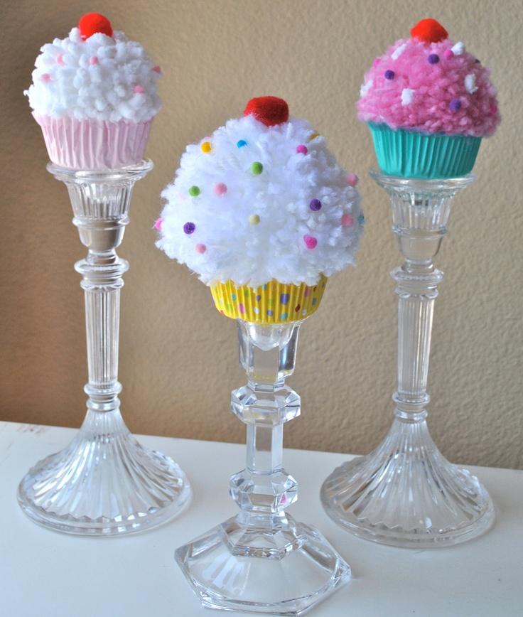Cupcake centerpiece trio - giant pom poms?
