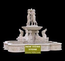 Ao ar livre fontes de água de pedra estátuas de cavalos arte e mulheres de classe mundial fontes de mármore estátua de mármore branco esculpido piscina(China (Mainland))