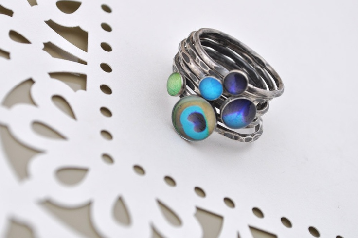 SIZE 7. PEACOCK MEGASTACK. Sterling Silver Stacking rings (set of 7). Ready to ship.. $95.00, via Etsy.
