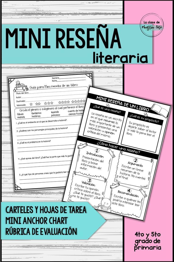 Mini Reseña De Un Libro Spanish Book Review Spanish Lessons High School Learn A New Language Teacher Activities