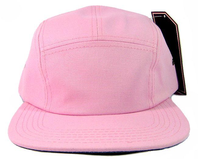 Wholesale Blank 5 Panel Camp Hats Caps Pink Bulk