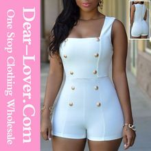 Women Summer 2015 White Gold Buttons Romper Adult Short Bodycon jumpsuit Best Seller follow this link http://shopingayo.space