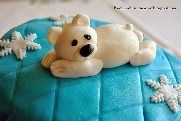 Kuchnia Pysznościowa: Biały miś na torcie z okazji chrzcin małego Kacper...